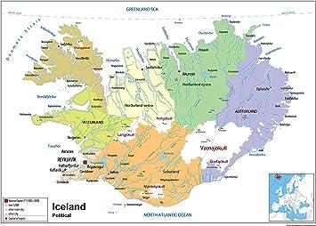 Island Politische Karte Papier Laminiert Ga A2 Size 42 X 59 4