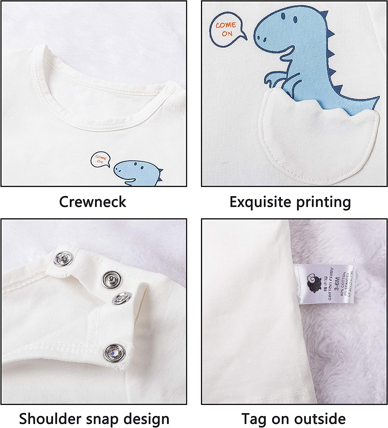 COTTON FAIRY Baby Boy 7 Pack Short Sleeve Crew Tees T-Shirts: Clothing