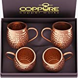COPPure Moscow Mule Copper Mugs Set of 4 - Pure 100% Solid Hammered, Unlined Copper Cups For Icy Cold Cocktails - Recipes Inc