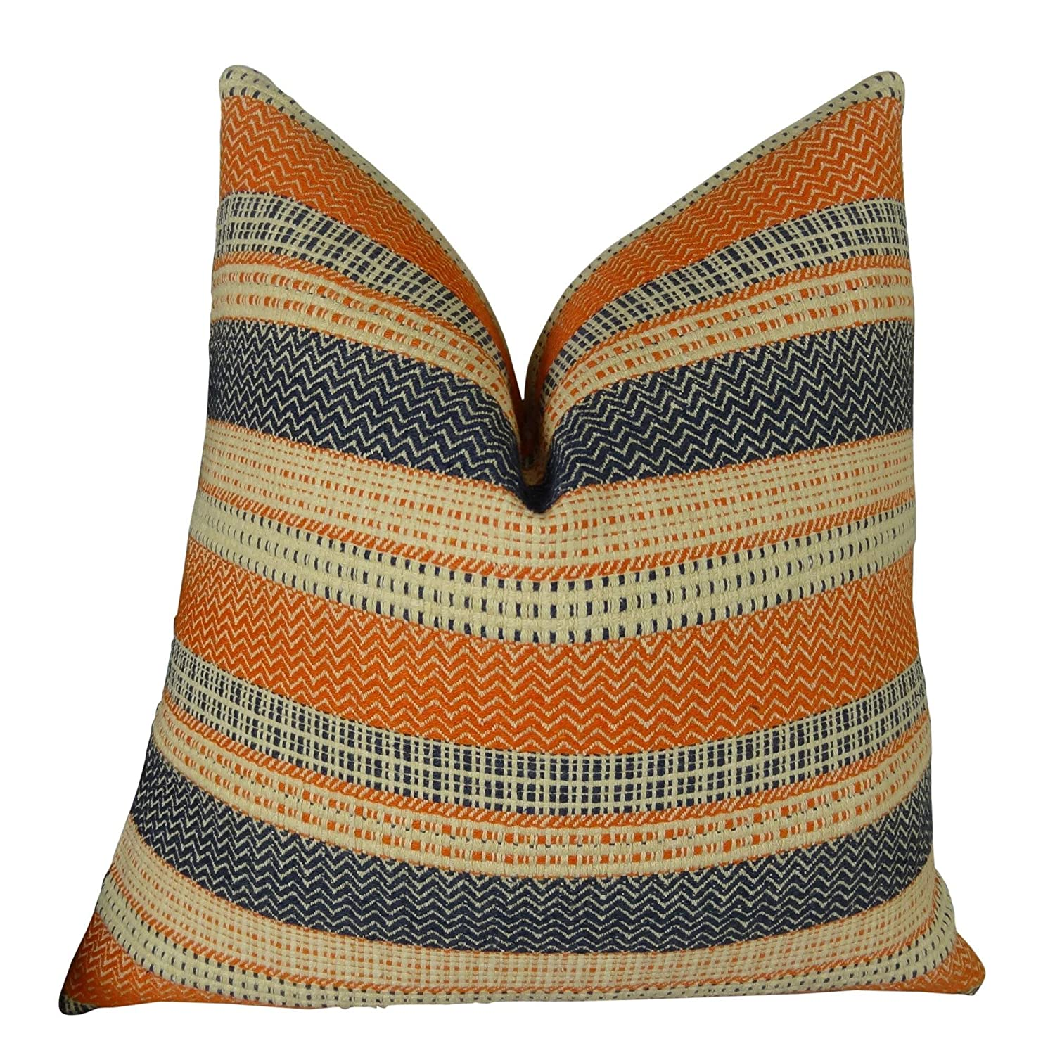 R .Double Sided 24\ Thomas Collection Handmade in USA Luxury Accent Pillow for Couch Sofa Bed, Made in USA Pillow Insert & Cover, orange Navy Cream Embroidered Pillow  11166