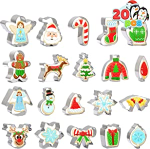 Christmas Cookie Cutter Set 20 PCS Santa Claus Snowman Gingerbread Man Reindeer Candy Cane Snowflake Christmas Tree Biscuit Fondant Cutters Stainless Steel for Holiday Xmas Party Baking Gift