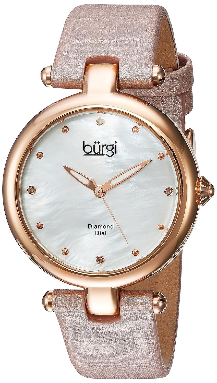 Burgi Women 's QuartzステンレススチールandレザーCasual Watch, Color :ピンク(モデル: bur169pk) B01MQ5XIAQ