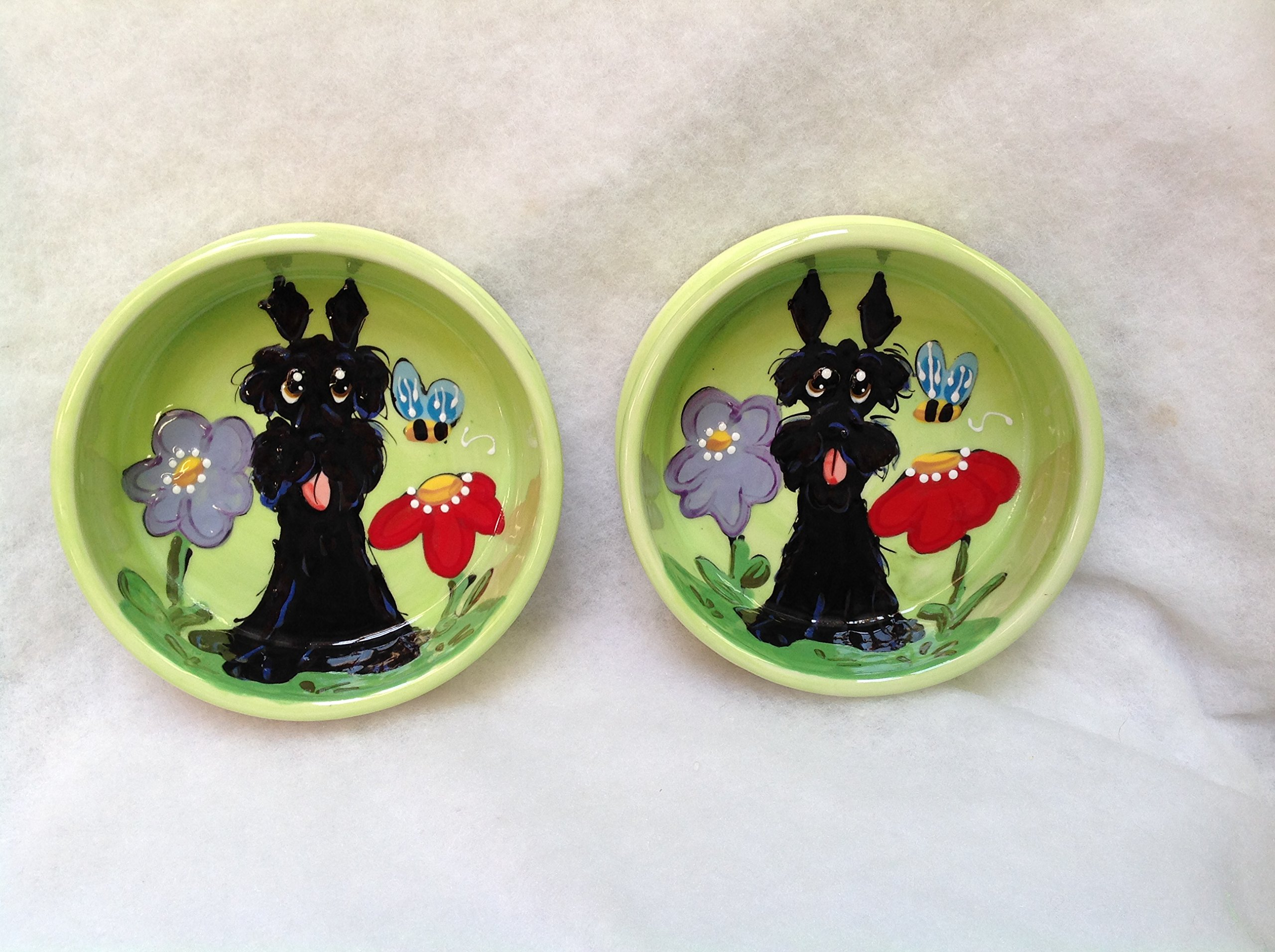 Scottish Terrier 8'' and 6'' Pet Bowls for Food and Water. Personalized at no Charge. Signed by Artist, Debby Carman.