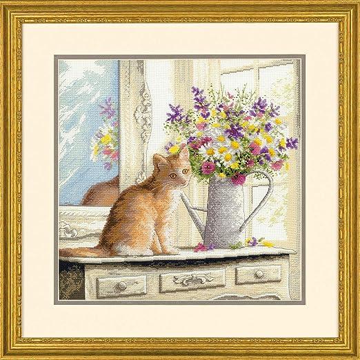 Kit de punto de cruz contado: gato en la ventana, Aida ...