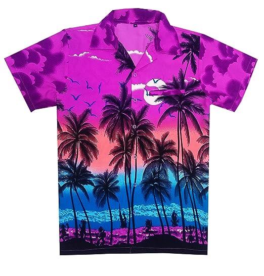 Purple Palms Boys Hawaiian Shorts