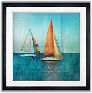 Wexford Home Color Tint Sail Beach Pictures Blue Seascape Wall Art Framed Coastal Decor Landscape Paintings Giclee Prints, 16X16, Black