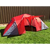 Kingfisher Unisex 3 Bedroom Camping Tent, Red, 6 Persons