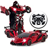 Best Choice Products Kids Interactive Transformer RC Remote Control Robot Drifting Sports Race Car Toy w/ Sounds, LED Lights - Red