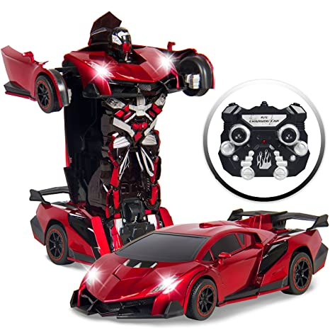Best Choice Products Kids Toy Transformer RC Robot Car Remote Control Car   Red