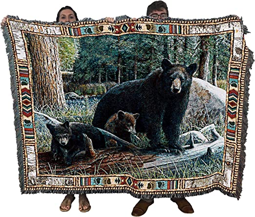 """18/"""" BEAR /& CUBS Wildlife Nature Tapestry Cushion Pillow"""