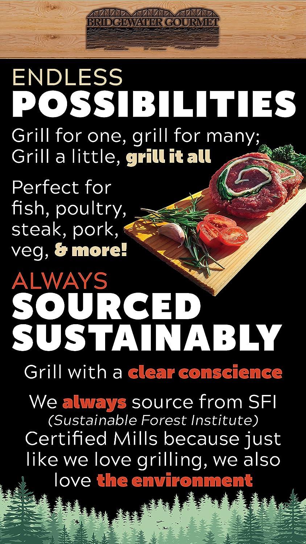 Bridgewater Gourmet Cedar Planks for Grilling - Cedar BBQ Grilling Planks  Quick Soaking