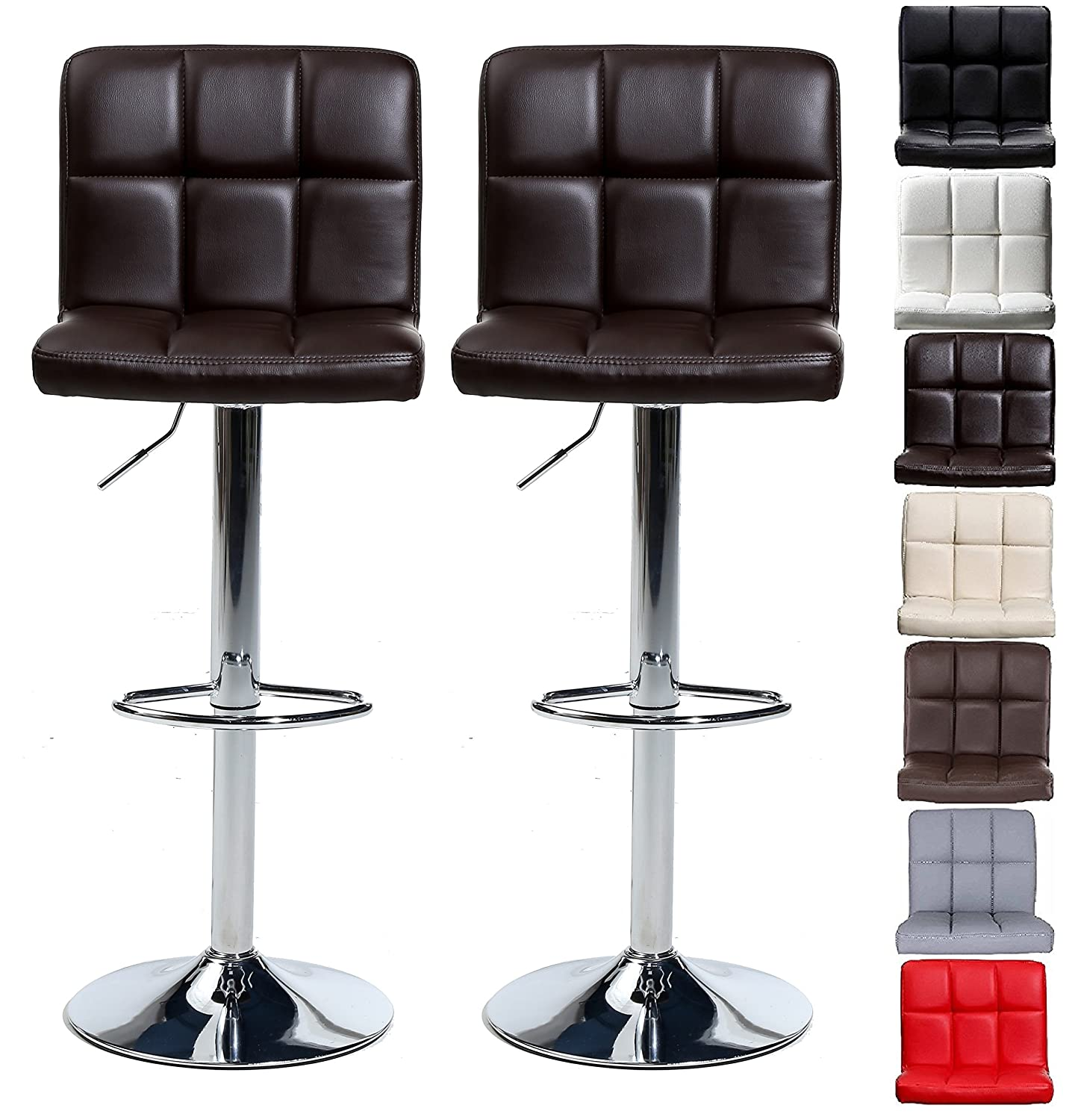 Pair of Cuban Bar Stools Set with Backrest, Leatherette Exterior, Adjustable Swivel Gas Lift, Chrome Footrest and Base for Breakfast Bar, Counter, Kitchen and Home Barstools (Black) Millhouse