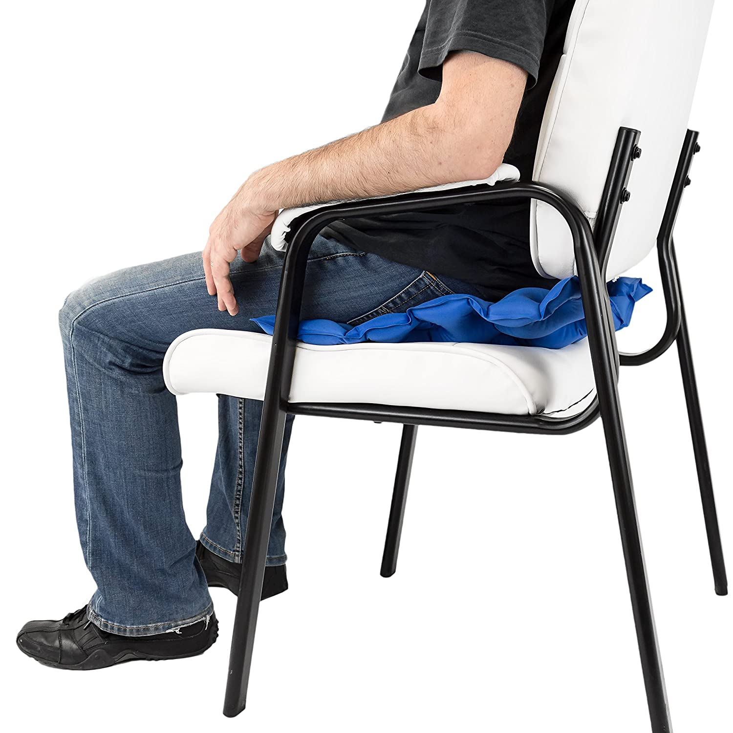 People sitting in waffle chair - Amazon Com Premium Air Inflatable Seat Cushion 17 X 17 Heat Sealed Construction For Durability Air Seat Cushion For Wheel Chair And Day To Day Use