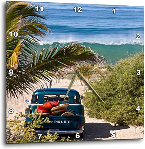 3dRose Spiritual Awakenings Surfing Art – Classic Woody with Surfboards on a Tropical Island Beach – 13×13 Wall Clock DPP_53871_2