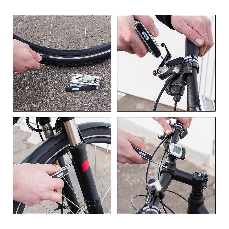 2,5 x 9 x 4,5 cm Relaxdays Kit de r/éparation pour v/élos Multi-Outils 14 cl/és Pliable /à Poche Bicyclette HxlxP Noir