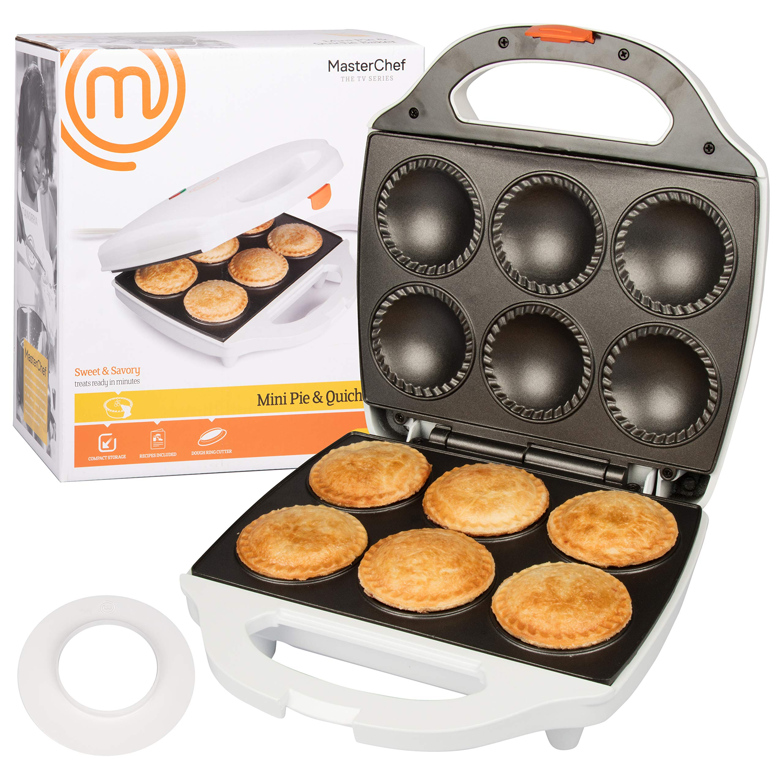 MasterChef Mini Pie and Quiche Maker- Pie Baker Cooks 6 Small Pies and Quiches in Minutes- Non-stick Cooker w Dough Cutting Circle for Easy Dough Measurement