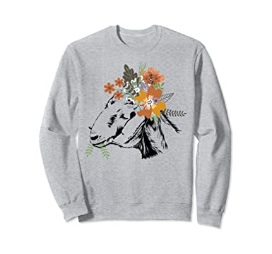 Unisex Cute Floral Goat Sweatshirt for Women Funny Goat Lover Gifts 2XL  Heather Grey 44273b443a