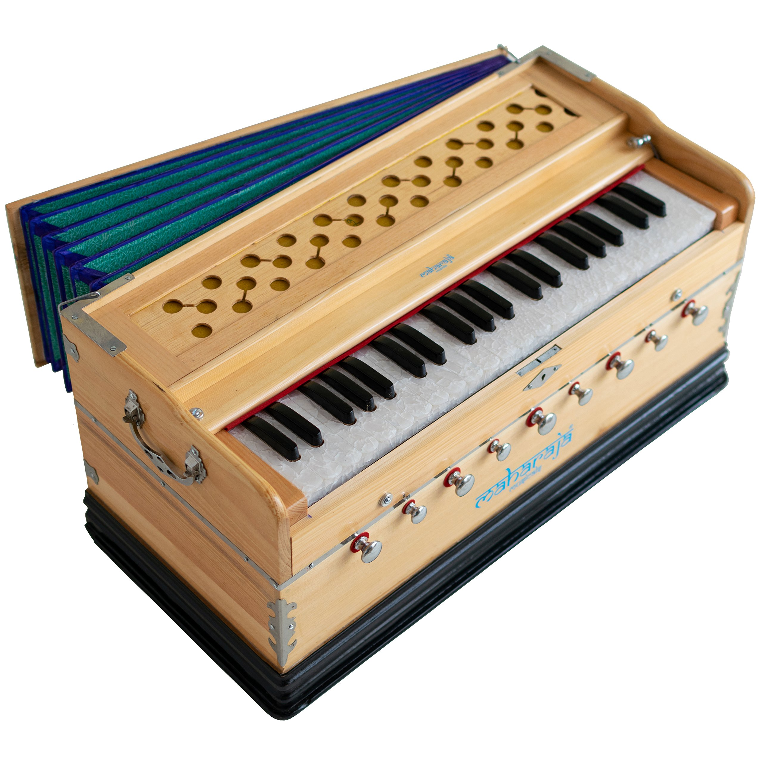 Harmonium by Maharaja Musicals, In USA, 9 Stops, 3 1/2 Octave, Double Reed, Coupler, Natural Color, Standard, Book, Padded Bag, A440 Tuned, Musical Instrument Indian Sangeeta (PDI-ABG) by Maharaja Musicals