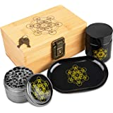 Stash Box Combo, Locking Wooden Box with Grinder, Rolling Tray, and Smell Proof Glass Jar Metatron's Cube Design Bamboo Box with Lock Accessories Kit