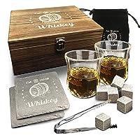 Whiskey Glass Set - 2 Bourbon Glasses, 8 Whisky Rocks Chilling Stones, 2 Slate Coasters...