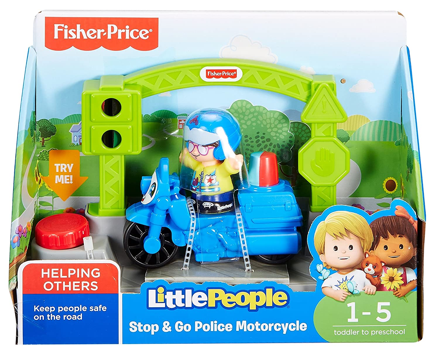 Amazon.com: Fisher-Price Little People Vehicle Police Motorcycle ...