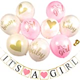 Baby Shower Party Decorations Decoration Decor Pre-Assembled Banner (IT'S A GIRL) & 9PC Balloons w/ Ribbon [Gold, Pink, White] Kit Set Supplies Bundle | Hang on Wall Chair Door | It Is A Girl