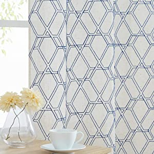 WEST LAKE Hexagon Semi Sheer Curtain Panels Geometric Embroidery Contemporary Lattice Grommet Farmhouse Window Treatment Drapes for Living Room,Parlor,Blue Beige/Natural,40''x95'',Set of 2
