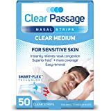 Clear Passage Nasal Strips Medium, Clear, 50 ct   Works Instantly to Improve Sleep, Reduce Snoring, Relieve Nasal Congestion