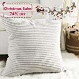 "Home Brilliant Decor Striped Velvet Cushion Cover for Chair Supersoft Handmade Decorative Pillowcase, Light Grey, 18""x18""(45cm)"