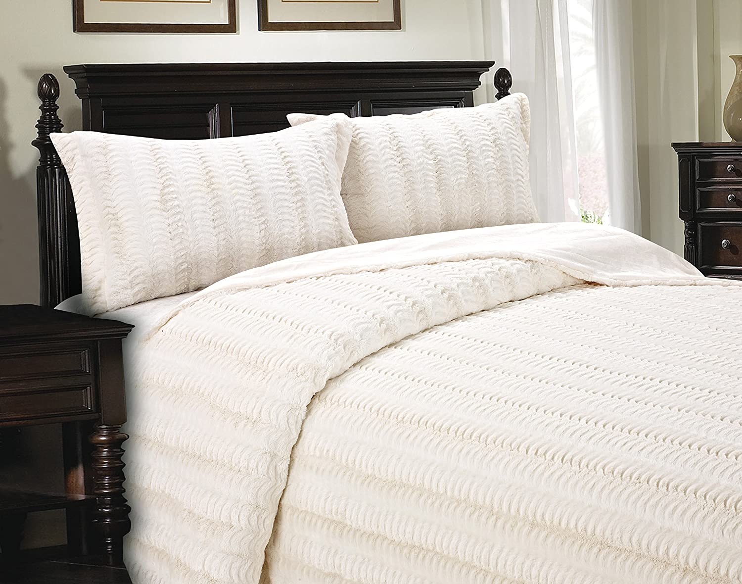 Cathay Home Lofty Luxe Faux Fur Blanket, Twin, Cream