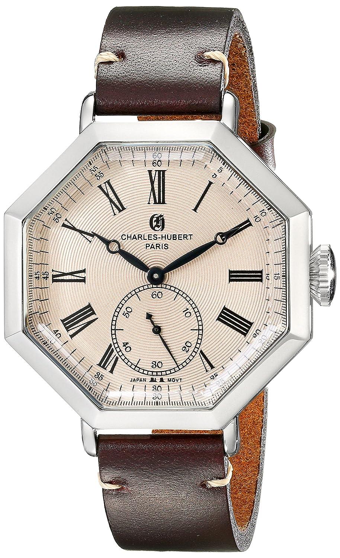 Charles-Hubert - Paris Herren-Armbanduhr 43mm Armband Kalbsleder Braun GehÄuse Edelstahl Quarz 3962-RG