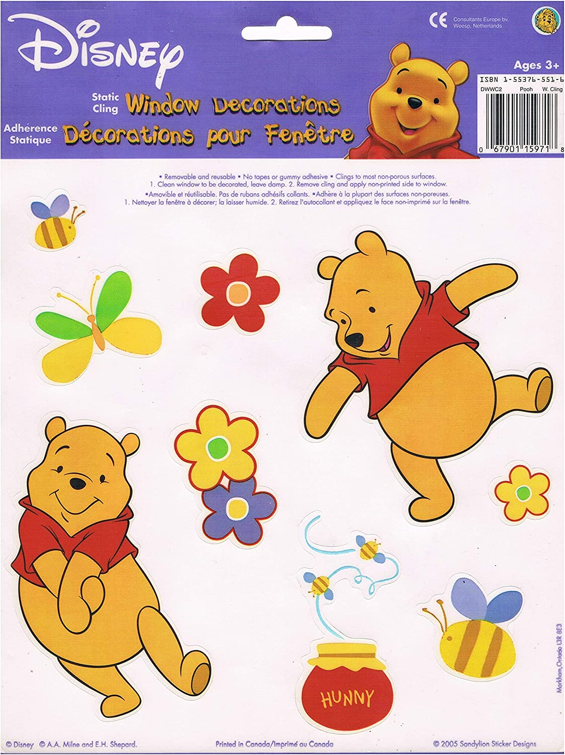 1 10 In X 6 In One Sheet ~Winnie the Pooh~  Christmas Window Clings.