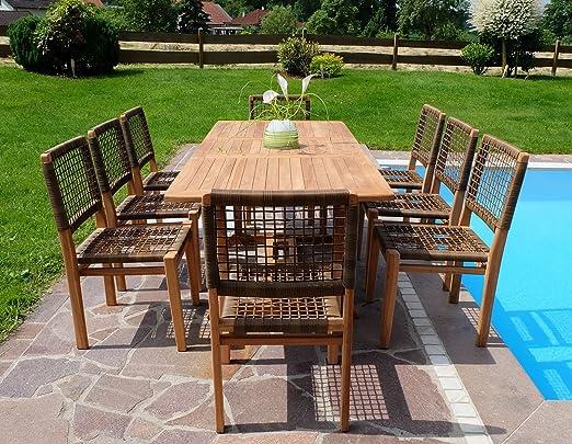 Rústico Super puede teca jardín Mobiliario de jardín muebles de jardín con mesa extensible 150 – 200 cm + 8 sillas Rio madera barnizada de as de S: Amazon.es: Jardín