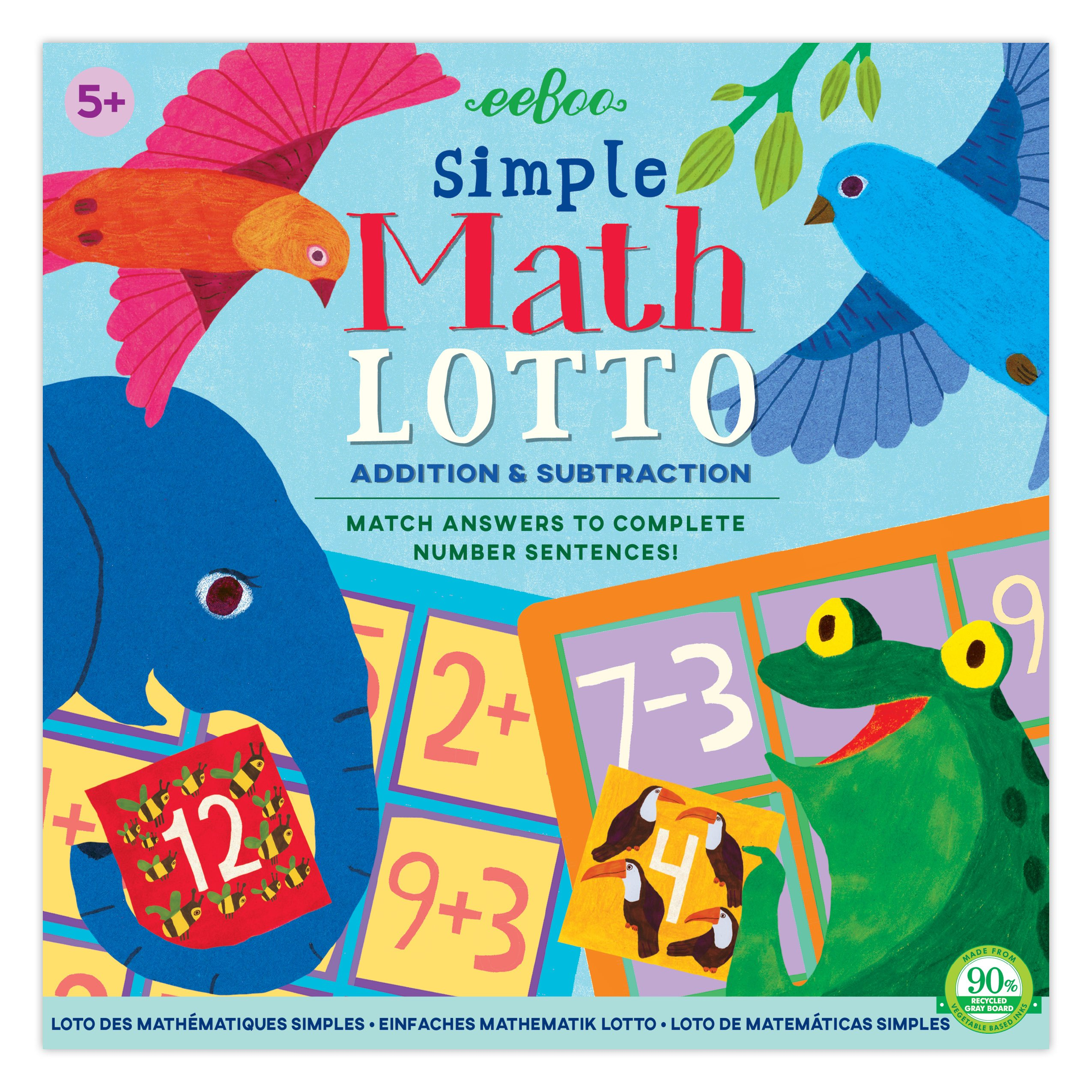 eeBoo Simple Math Bingo Lotto Game, Addition and Subtraction