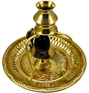 Amazing India Shaligram Shiva Ling Lingam Shivling Statue Hindu Puja Brass Stand with Thali
