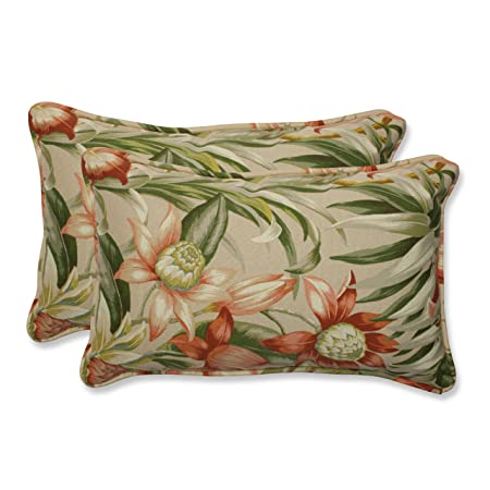 Pillow Perfect Rectangular Outdoor Botanical Glow Tiger Stripe Throw Pillow, Set of 2
