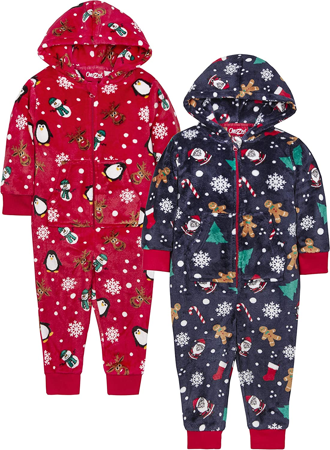 Metzuyan Unisex Boys and Girls Kids Christmas Onezee All in One Xmas Hooded Jumpsuit