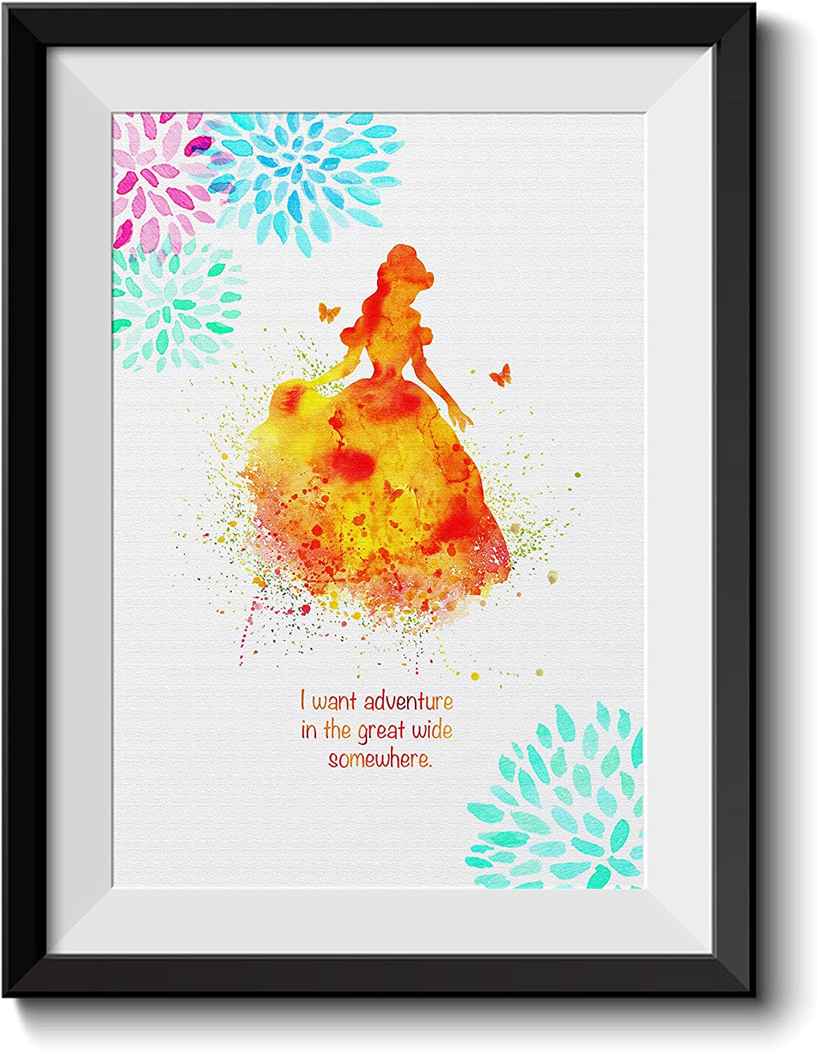 Uhomate Princess Belle Beauty and The Beast Beauty Beast Home Canvas Prints Wall Art Inspirational Quotes Wall Decor Living Room Bedroom Bathroom Artwork C016 (11X14)