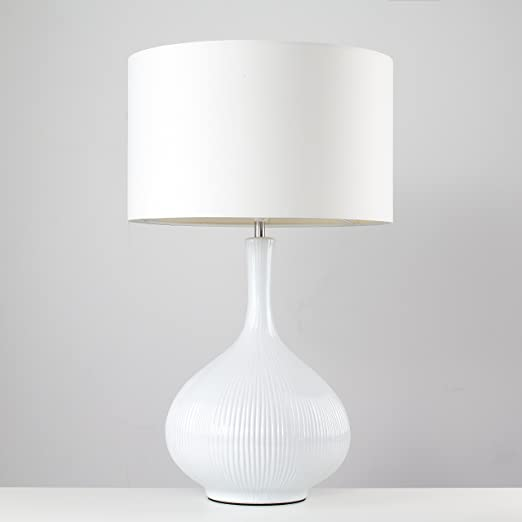 cebf6035206b Extra Large Modern White Textured Ceramic Table Lamp with a White Fabric  Shade: Amazon.co.uk: Lighting