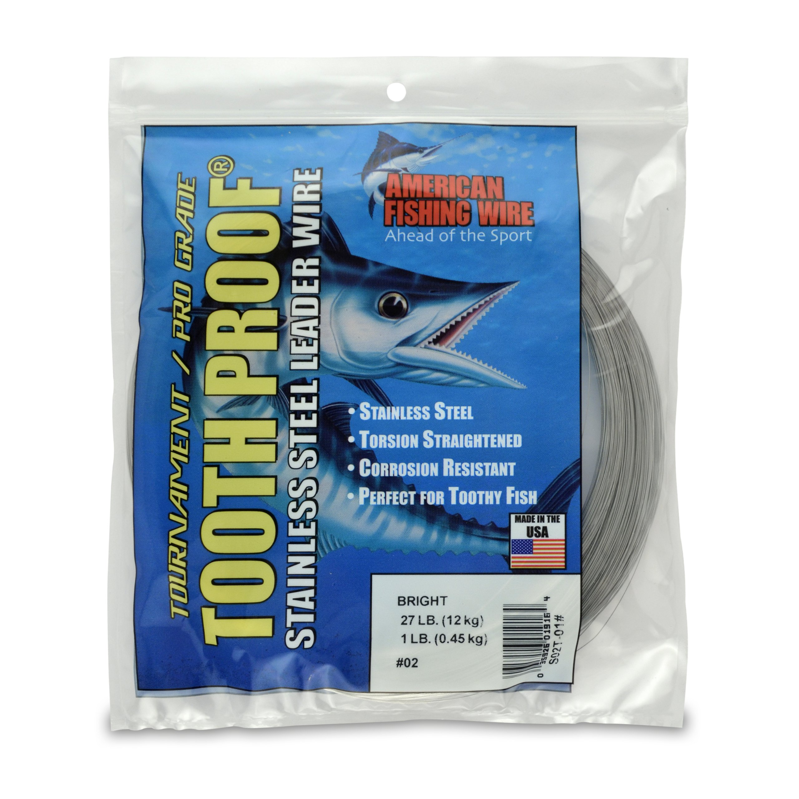 American Fishing Wire Tooth Proof Stainless Steel Single Strand Leader Wire, Size 2, Bright Color, 27 Pound Test, 1 Pound Coil