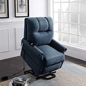 Merax Electric Recliner Chair Lazy Boy Sofa for Elderly, Power Lift Office or Living Room, Bluish Grey