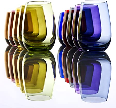 Vasos Elements de Stölzle Lausitz, 465 ml, Rojo, juego de 6 unidades, compatibles con lavavajillas, vasos de colores, ideales como regalo.