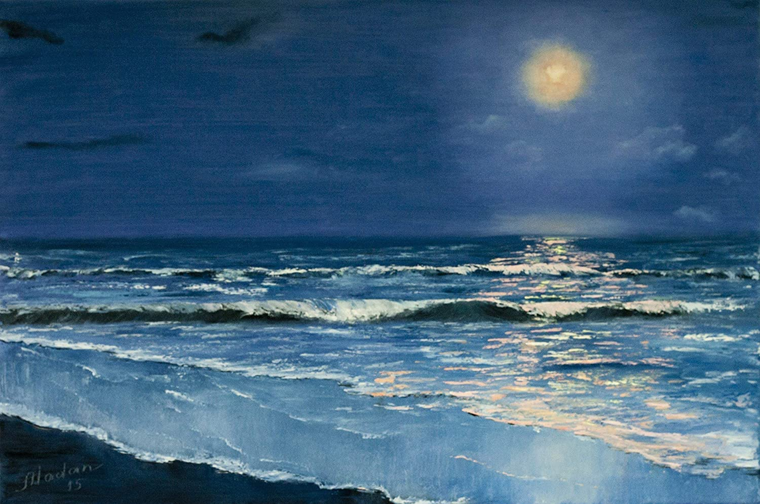 Reproduction of the original oil seascape painting of night sea under the moonlight Giclee print