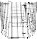 AmazonBasics Foldable Metal Pet Exercise and Playpen with Paw Protector