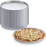 """Pack of 25 Disposable Round Foil Pizza Pans – Durable Pizza Tray for Cookies, Cake, Focaccia and More – Size: 12-1/4"""" x 3/8"""""""