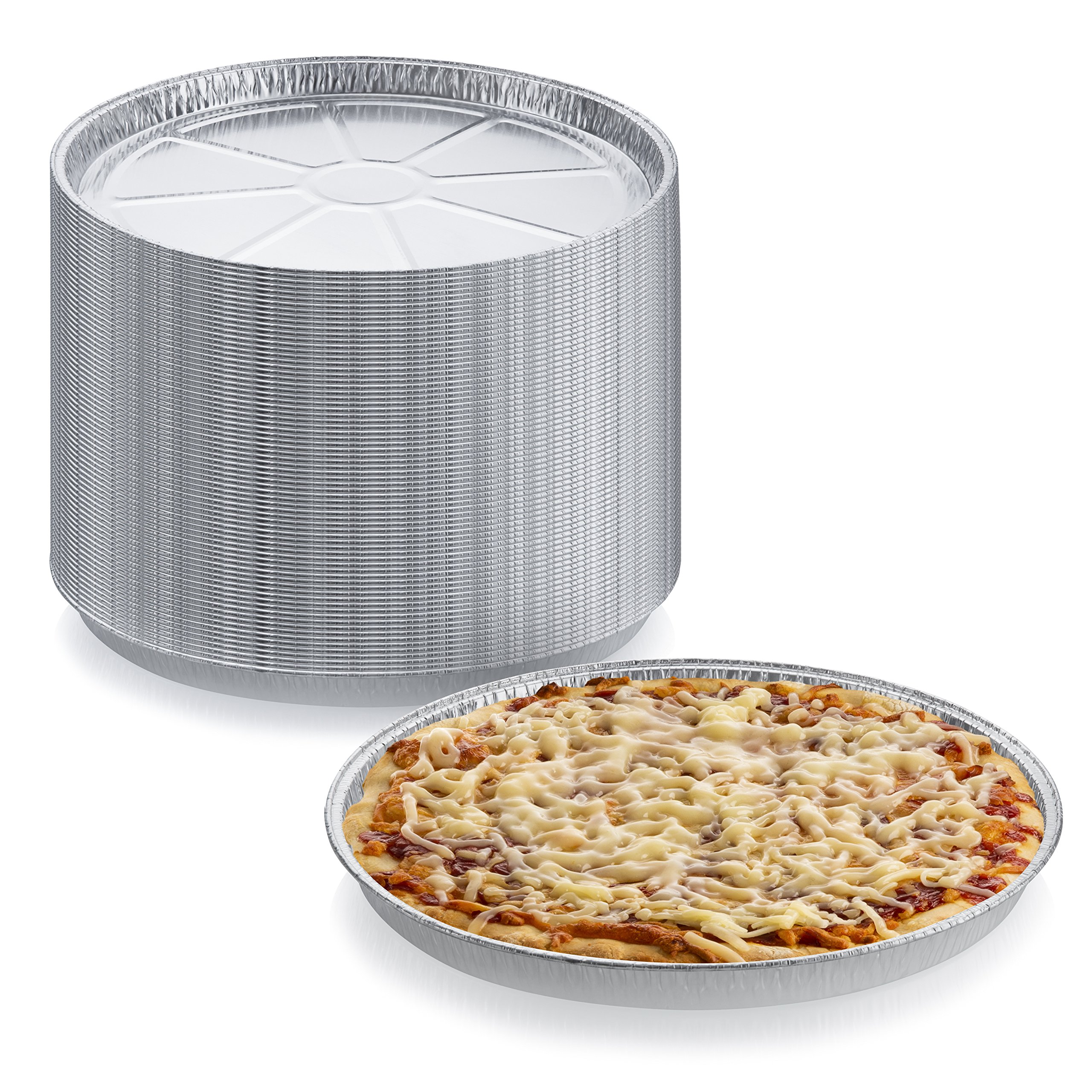 Pack of 24 Disposable Round Foil Pizza Pans – Durable Pizza Tray for Cookies, Cake, Focaccia and More – Size: 12-1/4'' x 3/8''