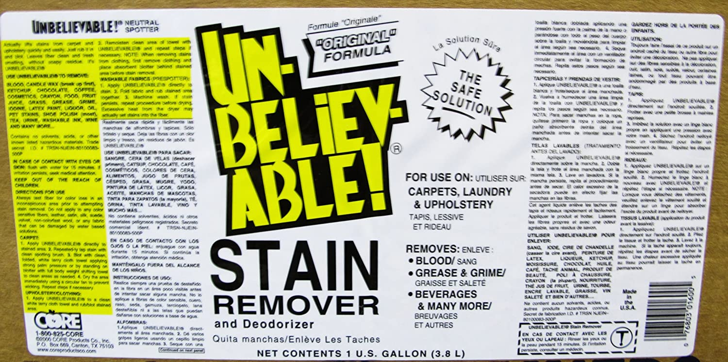 Amazon.com: Unbelievable! SR-640 128 Oz. Stain Remover (Case of 4): Industrial & Scientific