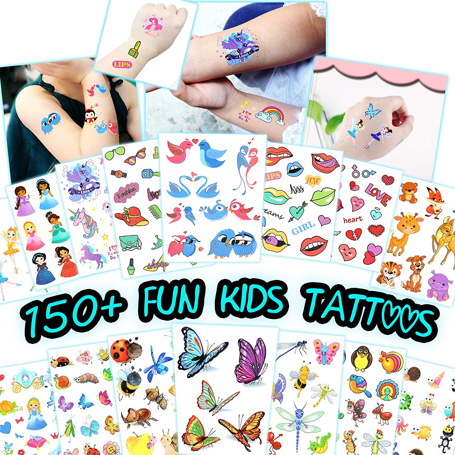 Amazon Com 150 Fun Kids Temporary Tattoos Easy To Use Tattoos For Children Bulk Assorted Designs Waterproof Body Art 15 Sheets Health Personal Care