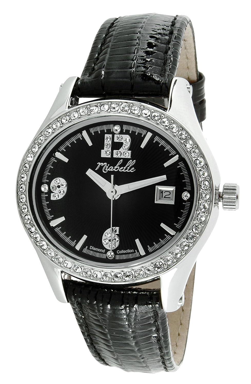 Miabelle Damen-Armbanduhr Analog Quarz Leder Schwarz Diamanten Swarovski Elemente - 12-012W-B