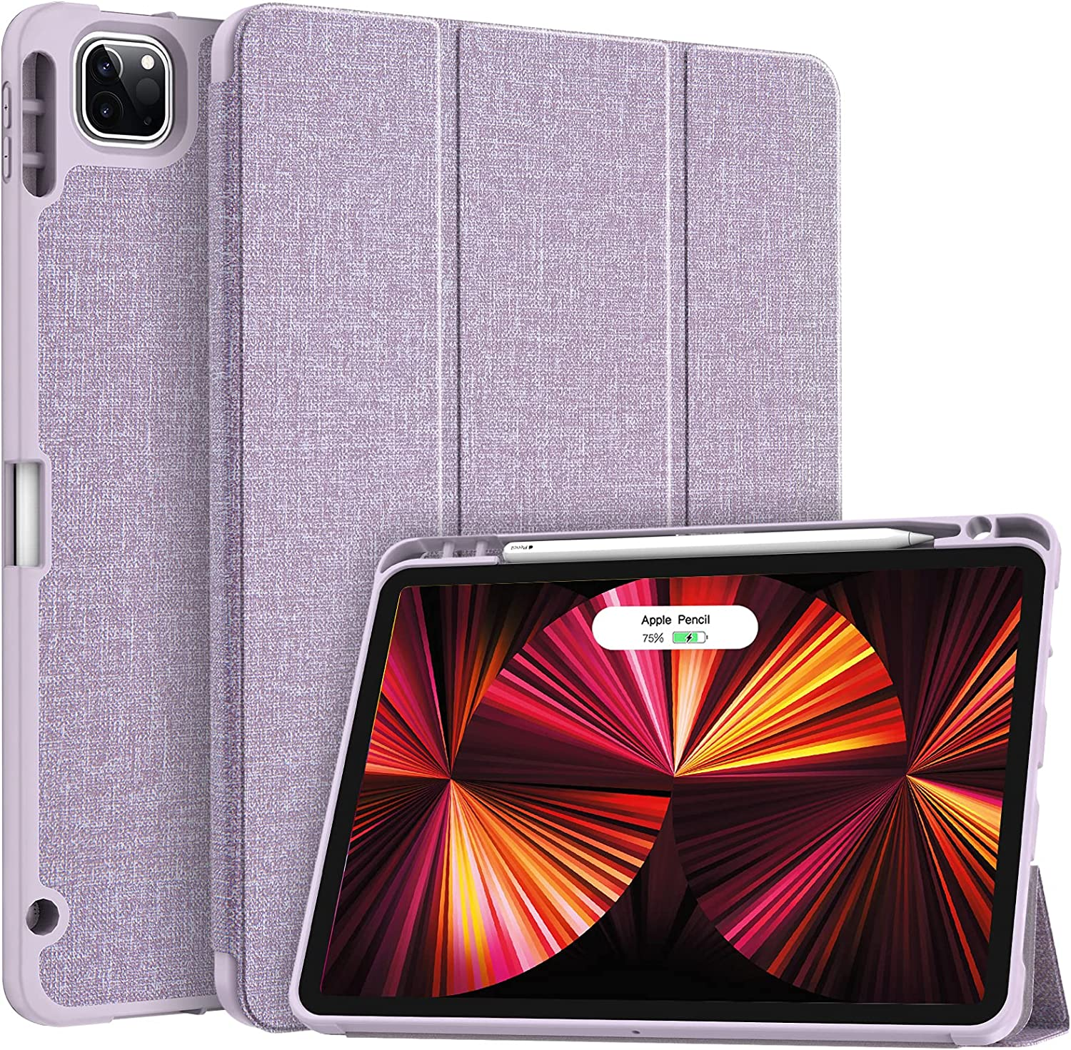 Soke New iPad Pro 11 Case 2021 with Pencil Holder - [Full Body Protection + 2nd Gen Apple Pencil Charging + Auto Wake/Sleep], Soft TPU Back Cover for 2021 iPad Pro 11 inch(Violet)